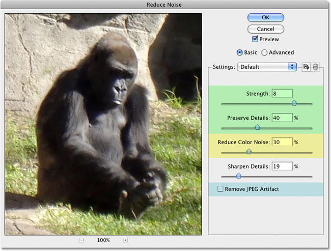 The Reduce Noise filter in Photoshop. Image © 2010 Photoshop Essentials.com