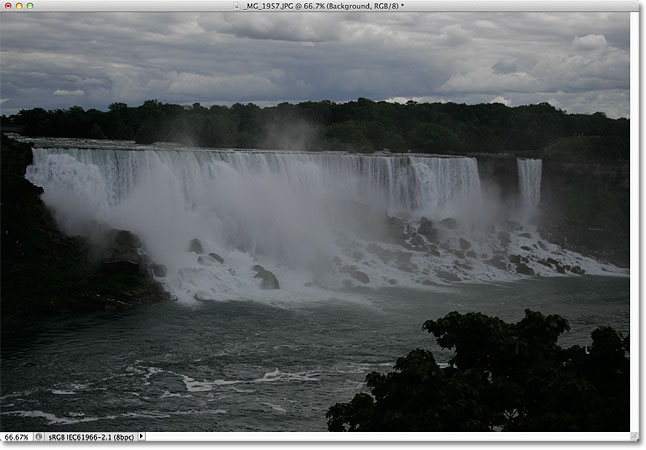 An underexposed photo of Niagara Falls. Image © 2011 Photoshop Essentials.com