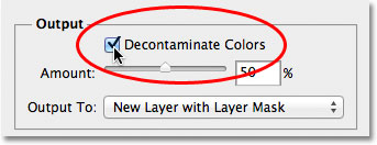 The Decontaminate Colors option in the Refine Edge dialog box.