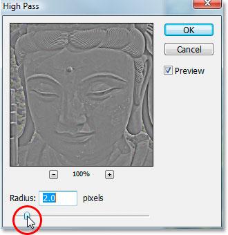 Photoshop's 'High Pass' filter dialog box.