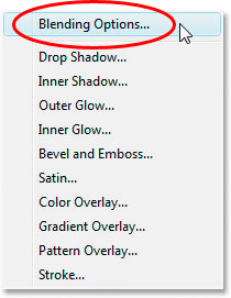 Choose Blending Options from the list of Layer Styles