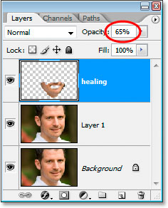 Increasing the opacity of the healing layer to 65%