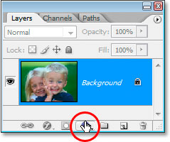 Clicking the 'New Adjustment Layer' icon at the bottom of the Layers palette.