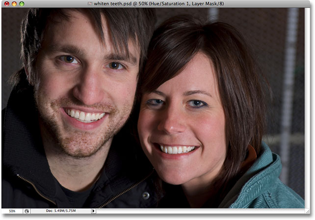 Teeth whitening in Photoshop. Image © 2008 Photoshop Essentials.com.