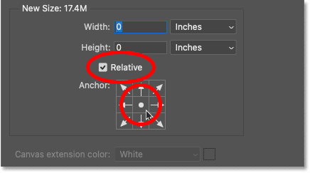 Selecting the Relative option and the center Anchor box in Photoshop's Canva Size dialog box