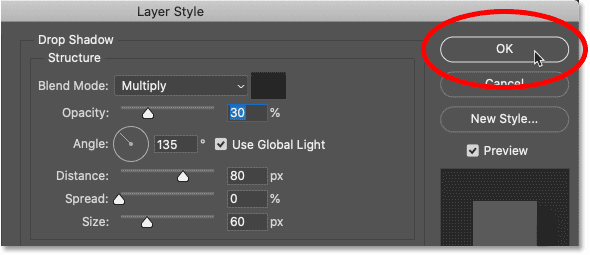Closing Photoshop's Layer Style dialog box.