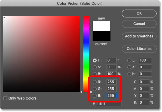 Choosing white for the photo border color from Photoshop's Color Picker