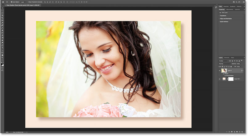 A custom drop shadow photo border created in Photoshop