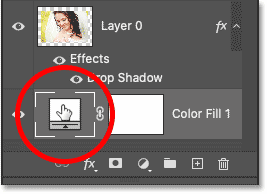 Double-clicking the Solid Color fill layer's color swatch.