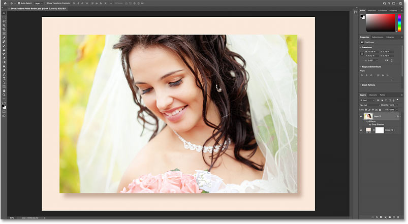 The photo border and drop shadow using custom colors from the image.