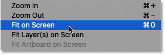 Selecting the Fit on Screen command from Photoshop's View menu