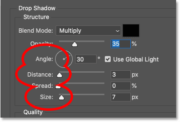 The Angle, Distance and Size options for the Drop Shadow in Photoshop's Layer Style dialog box