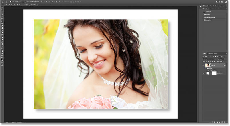 How to add a photo border and a drop shadow to an image in Photoshop