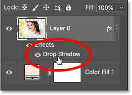 Re-opening the Drop Shadow layer effect in Photoshop's Layers panel