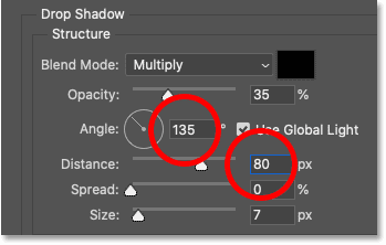 Entering Angle and Distance values for the Drop Shadow in Photoshop's Layer Style dialog box
