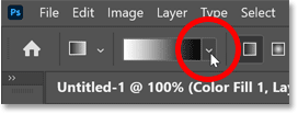 Clicking the arrow to open the Gradient Picker in Photoshop's Options Bar