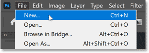 Choosing the New command from Photoshop's File menu.