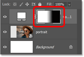 The black to white gradient appears in the layer mask thumbnail