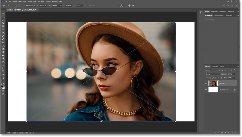 The Free Transform command opens automatically after placing the image into the Photoshop document.