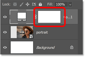 The layer mask thumbnail on the Solid Color fill layer.