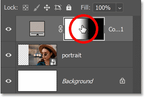 Reselecting the layer mask thumbnail in Photoshop's Layers panel