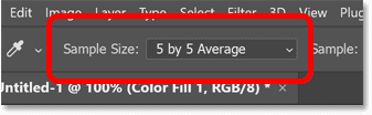 Choosing a larger sample size for the Eyedropper Tool in Photoshop