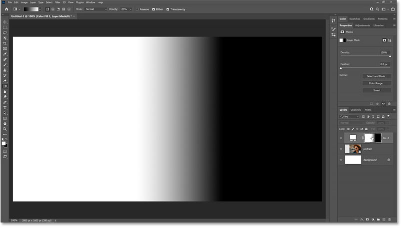 Viewing the layer mask in the Photoshop document