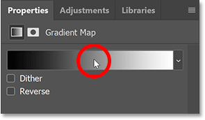 Clicking the gradient in the Properties panel to open Photoshop's Gradient Editor