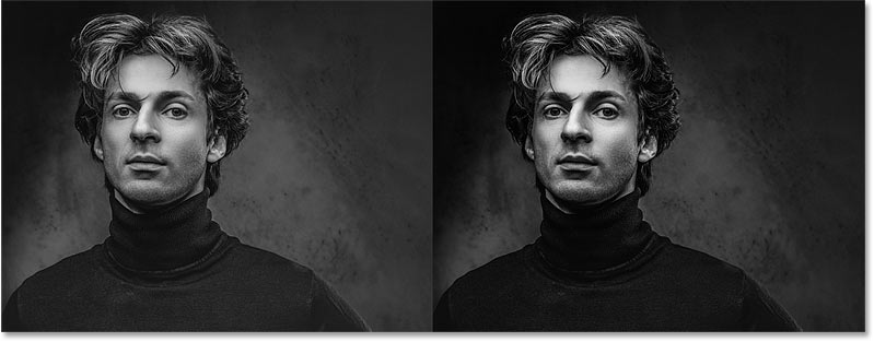 Comparing the black and white conversions from Photoshop's Desaturate command (left) and the Gradient Map (right)