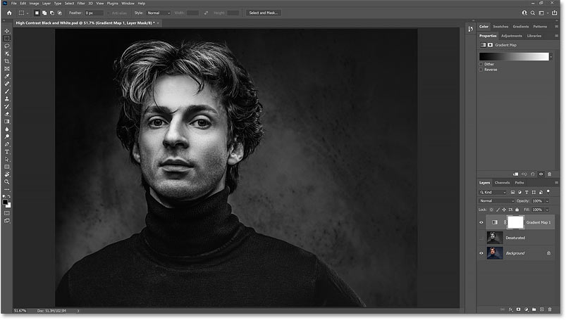 A black and white image created in Photoshop using a Gradient Map