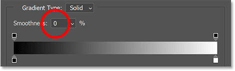 Lowering the Smoothness option for the gradient down to 0 percent.