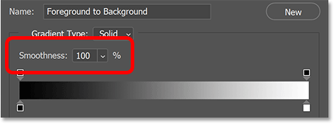 The Smoothness option set to 100 percent in Photoshop's Gradient Editor