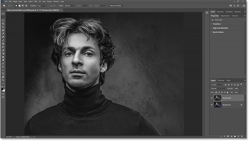 The black and white image using Photoshop's Desaturate command