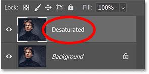 Renaming the layer Desaturated.