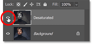 Turning off the Desaturated layer by clicking its visibility icon