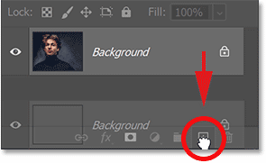 Making a copy of the Background layer in Photoshop's Layers panel.