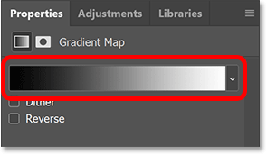 Photoshop's Properties panel showing the gradient being used by the Gradient Map.