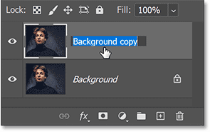 Double-clicking on the layer's name.