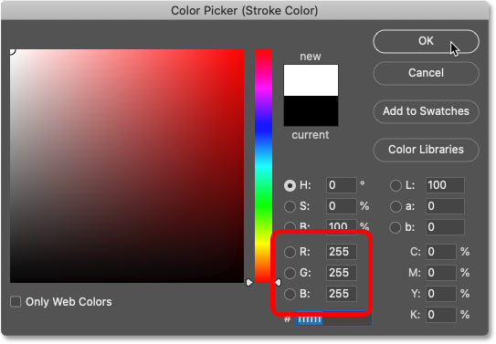 Choosing white from Photoshop's Color Picker.