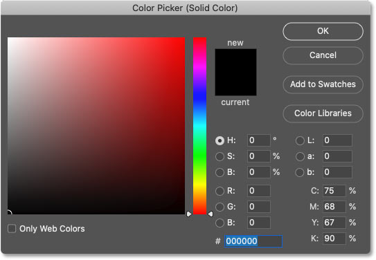 Choosing black from Photoshop's Color Picker