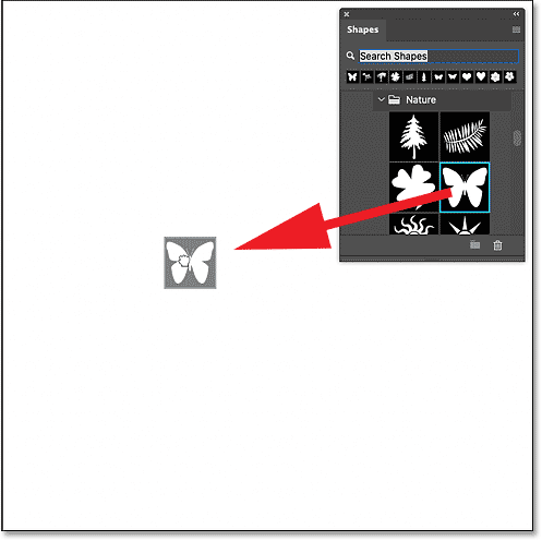 Dragging a shape from the Shapes panel into the Photoshop document