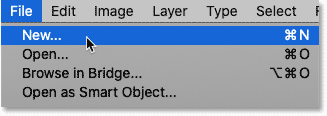 Selecting the New command from Photoshop's File menu.
