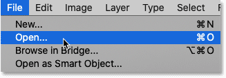 Choosing the Open command from Photoshop's File menu