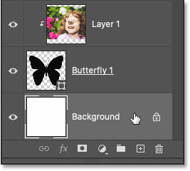 Selecting the Background layer in Photoshop's Layers panel.