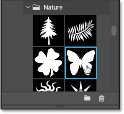 Selecting the Butterfly custom shape from Photoshop's Shapes panel