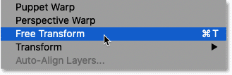 Selecting Free Transform from Photoshop's Edit menu