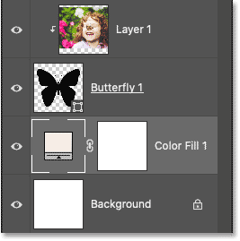 Photoshop's Layers panel showing the Solid Color fill layer.