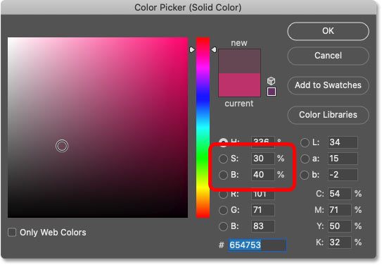 Lowering the color saturation and brightness in Photoshop's Color Picker.