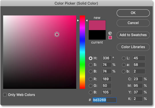 Choosing a color for the monochromatic effect from Photoshop's Color Picker.