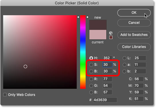 Lowering the saturation and brightness of the sampled color in Photoshop's Color Picker.